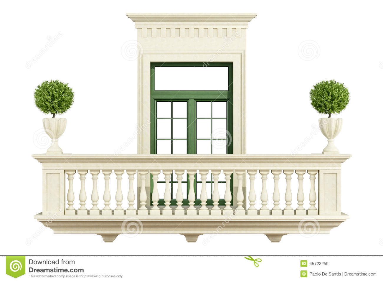 Classic balcony balustrade with window stock illustration for Balcony window
