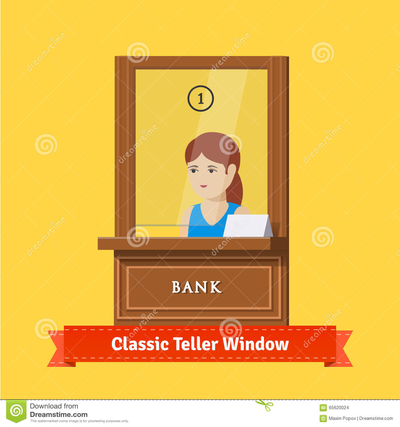 Classic Bank Teller Window With A Working Clerk Stock Vector