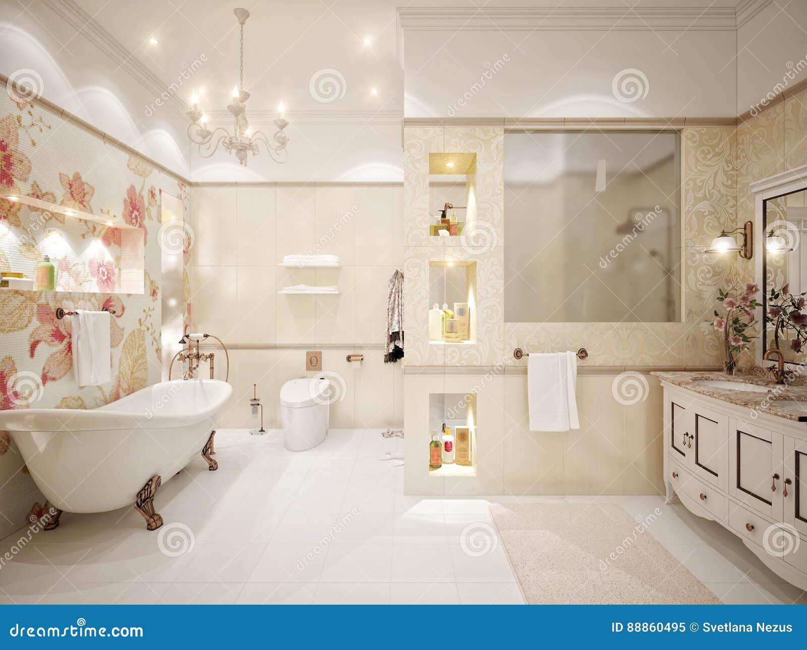 Classic bathroom interior design - Classic Bathroom Interior Design With Gold And Beige Tiles And M Stock Illustration