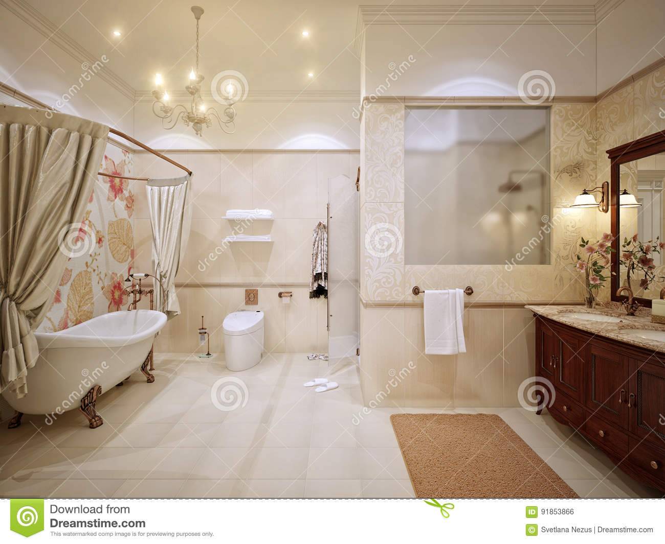 Classic Bathroom Interior Design With Gold And Beige Tiles And M Stock Illustration Illustration Of Classical Presentable 91853866