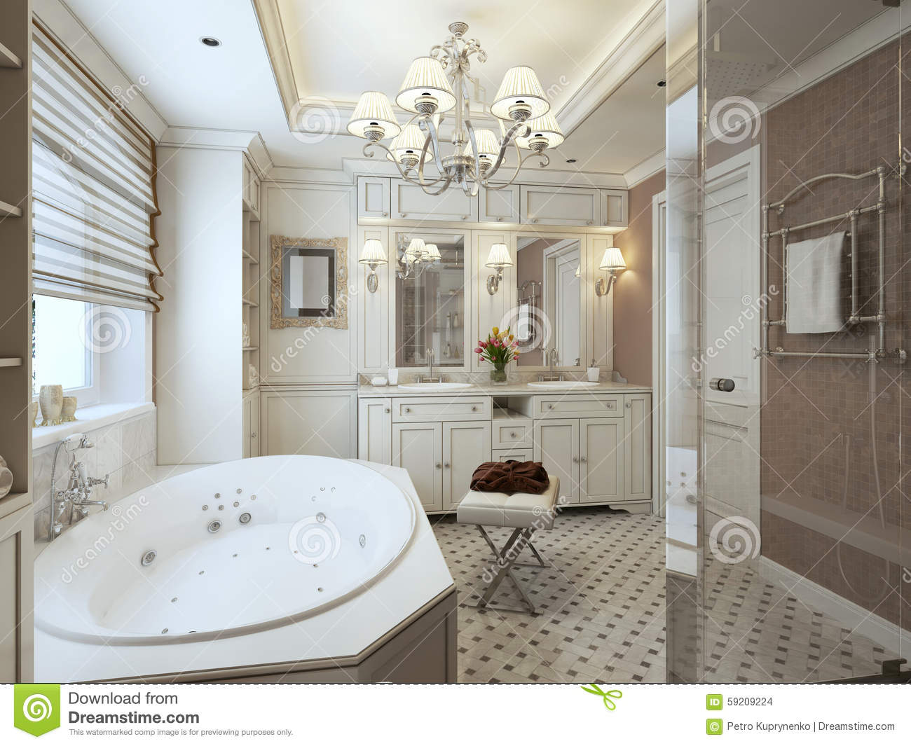 classic bathroom interior design with gold and beige tiles and m royalty free stock photo. Black Bedroom Furniture Sets. Home Design Ideas
