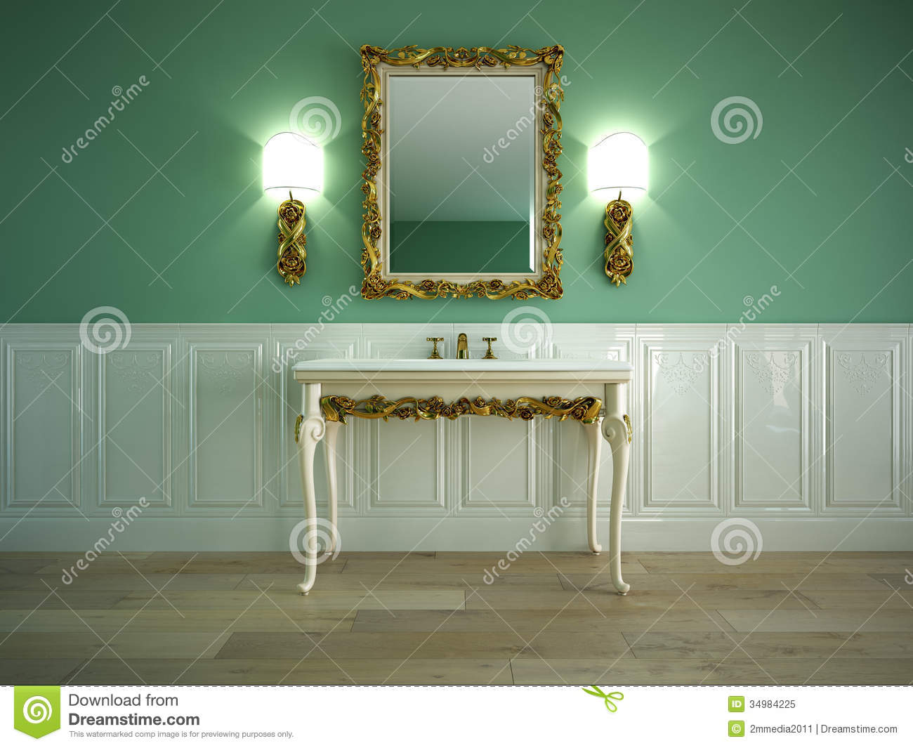 Classic bathroom stock illustration image of inside for Classic mirror