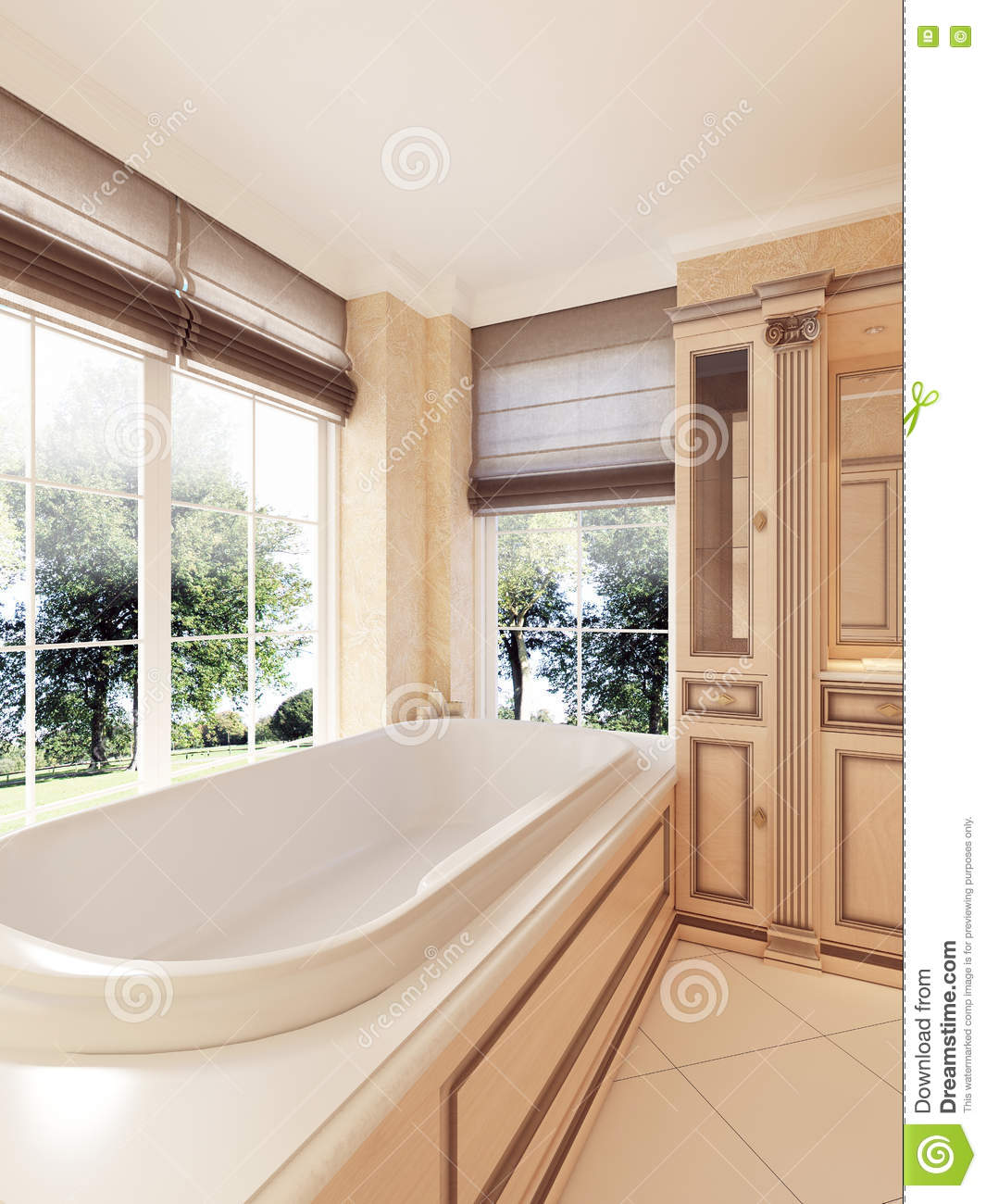 Classic Bathtub By Large Window With Roman Blinds In The Bathroo