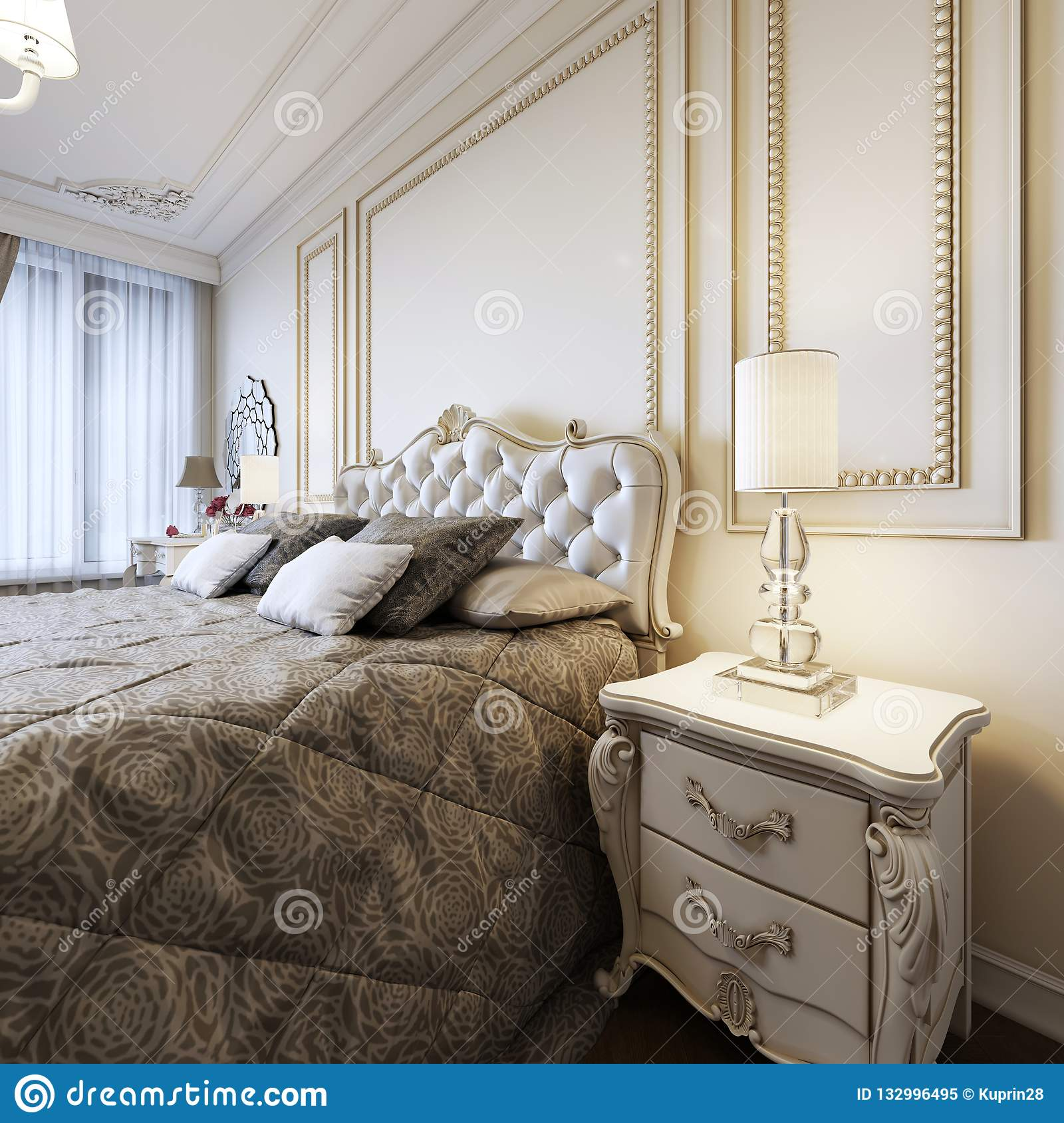 Classic Bed With Bedside Tables And Night Lamps In Art Deco Bedroom