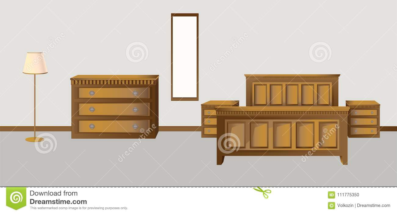 Classic bedroom in antique style walnut colors
