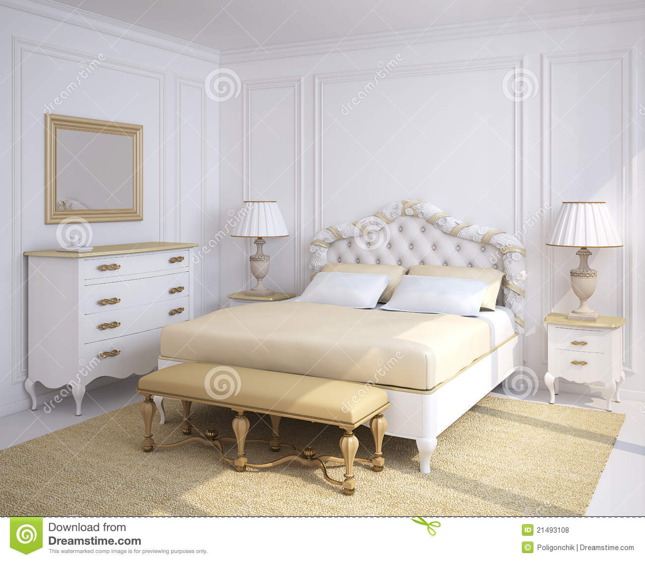 Classic Bedroom Interior. Royalty Free Stock Photos ...
