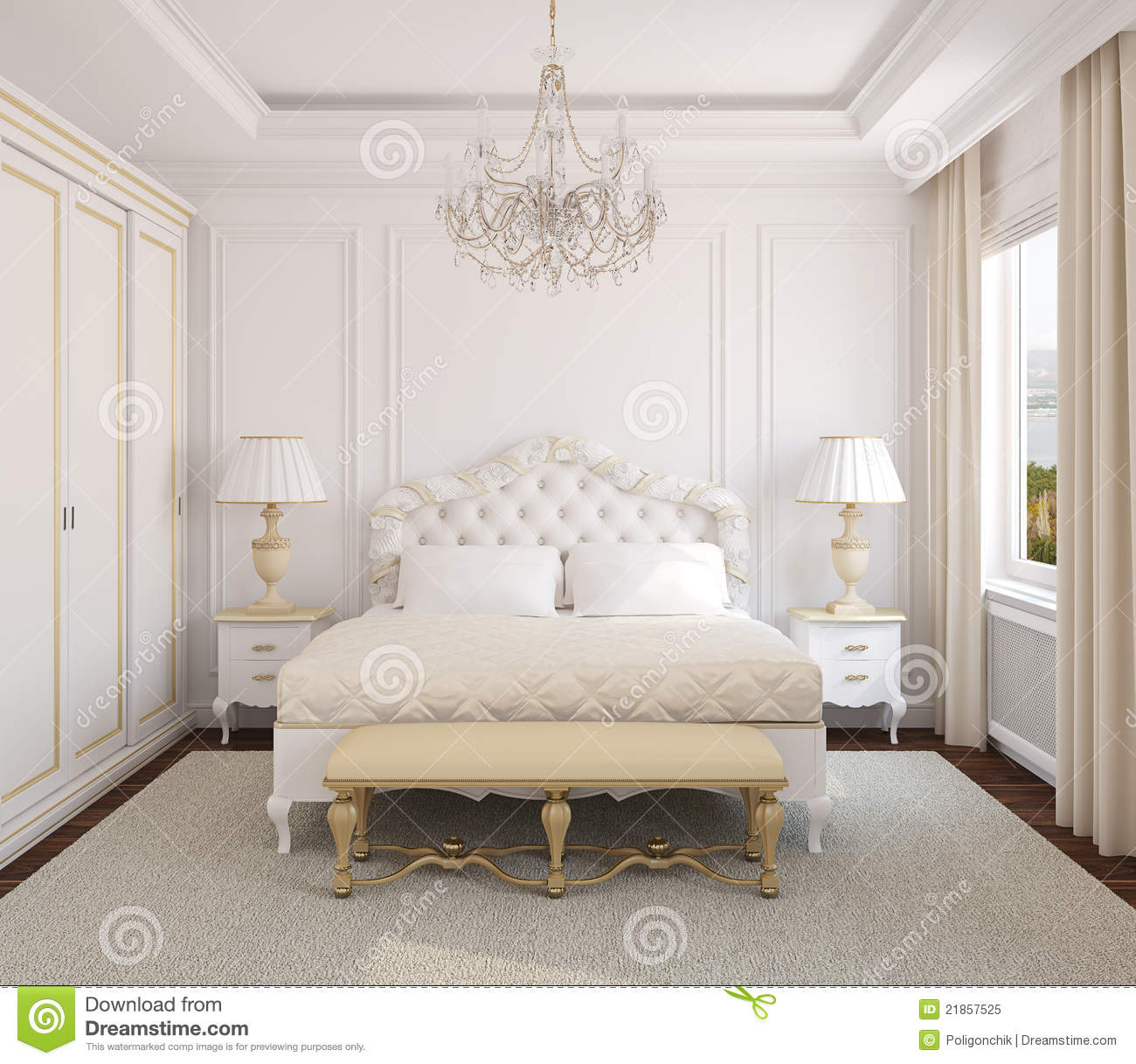 Classic Bedroom Interior Royalty Free Stock Image