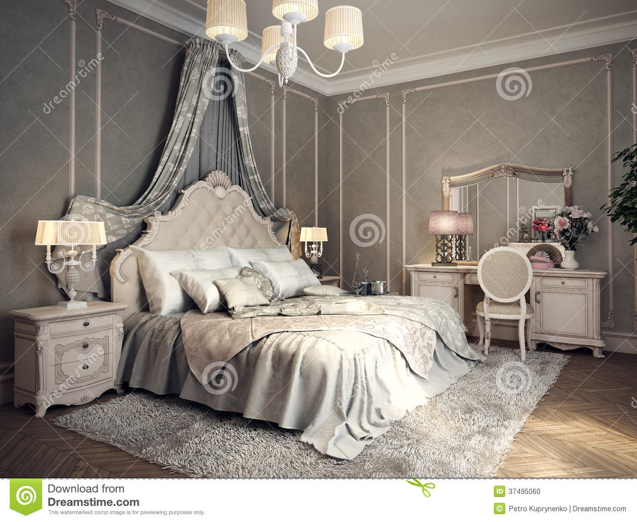 Classic Bedroom Interior Stock Illustration Illustration
