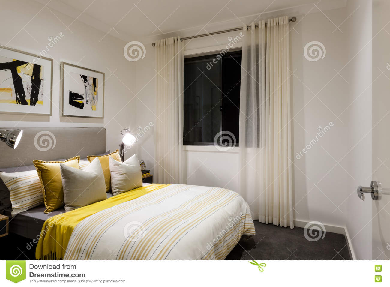 Classic Bedroom Of A Modern House With Table Lamps On Stock Photo ...