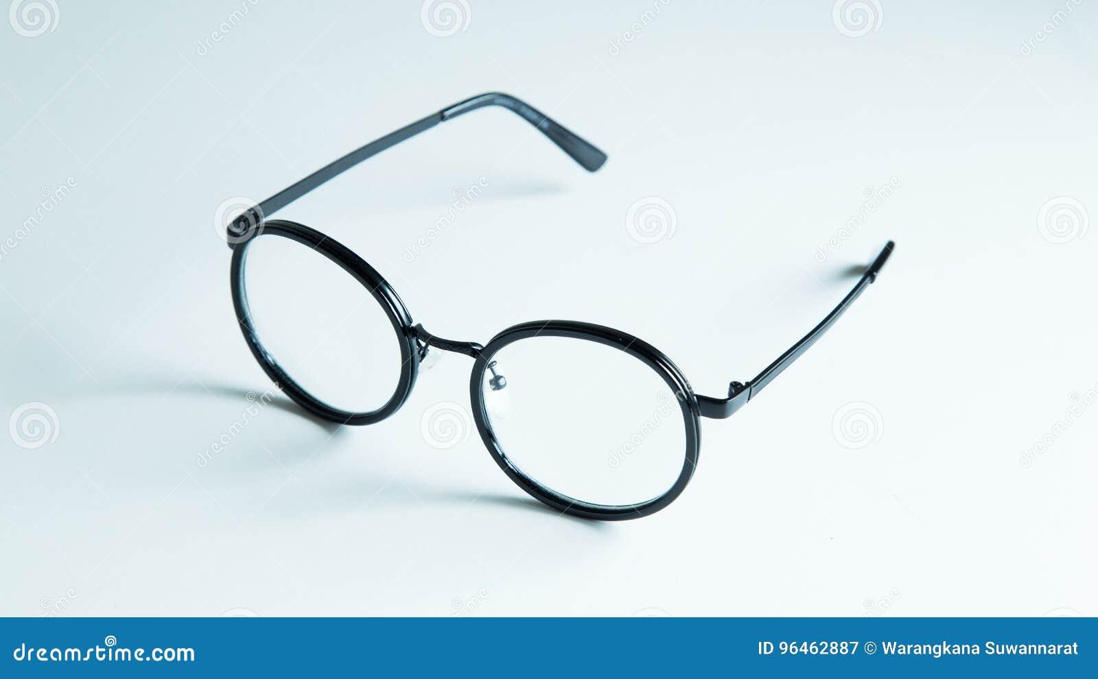 Classic Black Eye Glasses Isolated On White Background Stock