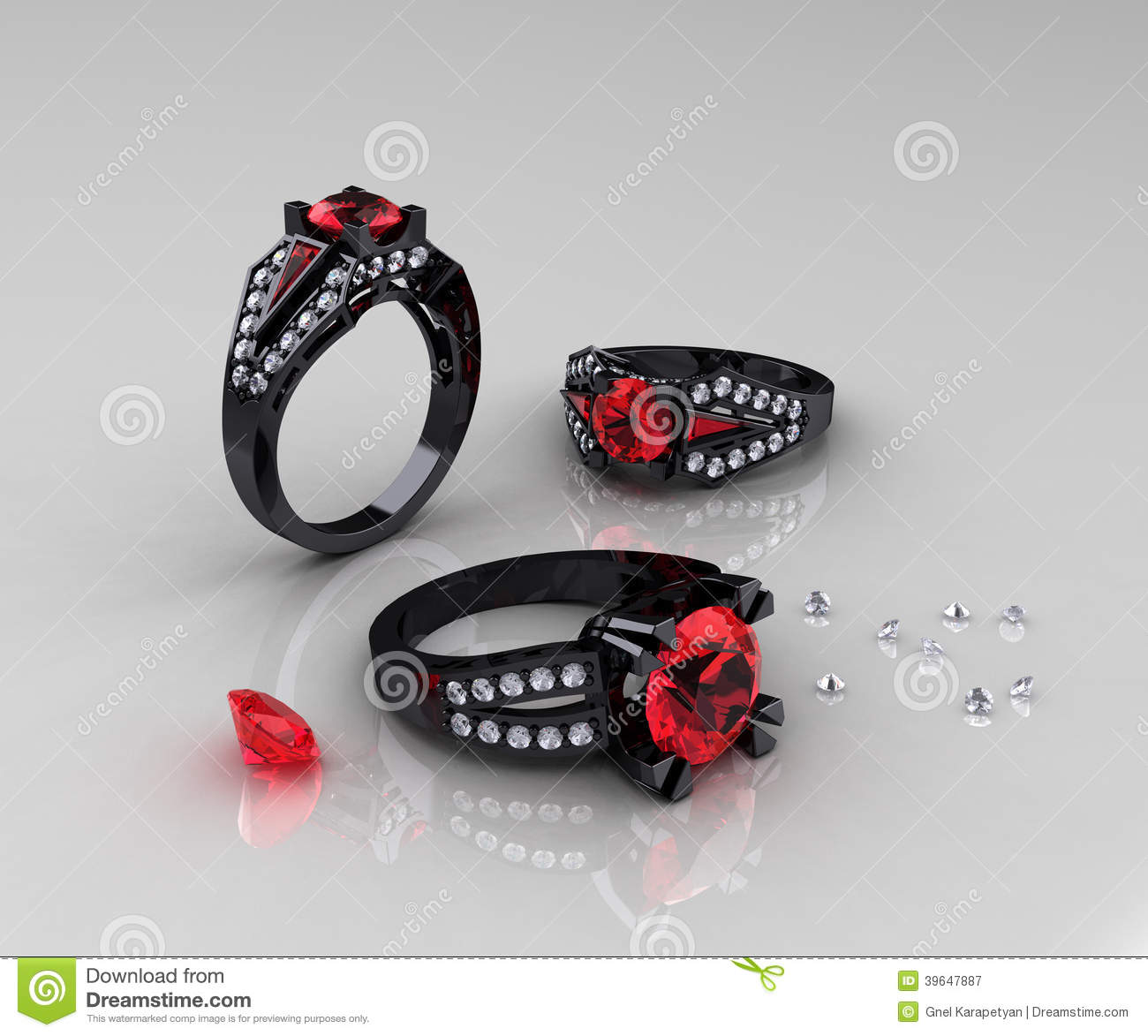 Classic Black Gold Ruby Diamond Engagement Rings Stock Illustration Image