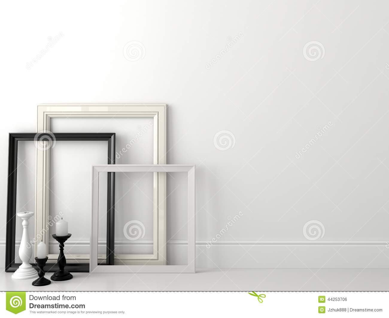 White Wall Frames classic black and white frames on white wall stock photo - image