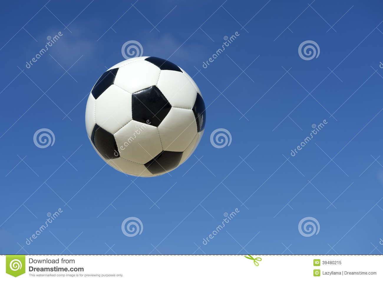 Classic Black and White Soccer Ball Football Flying in Blue Sky