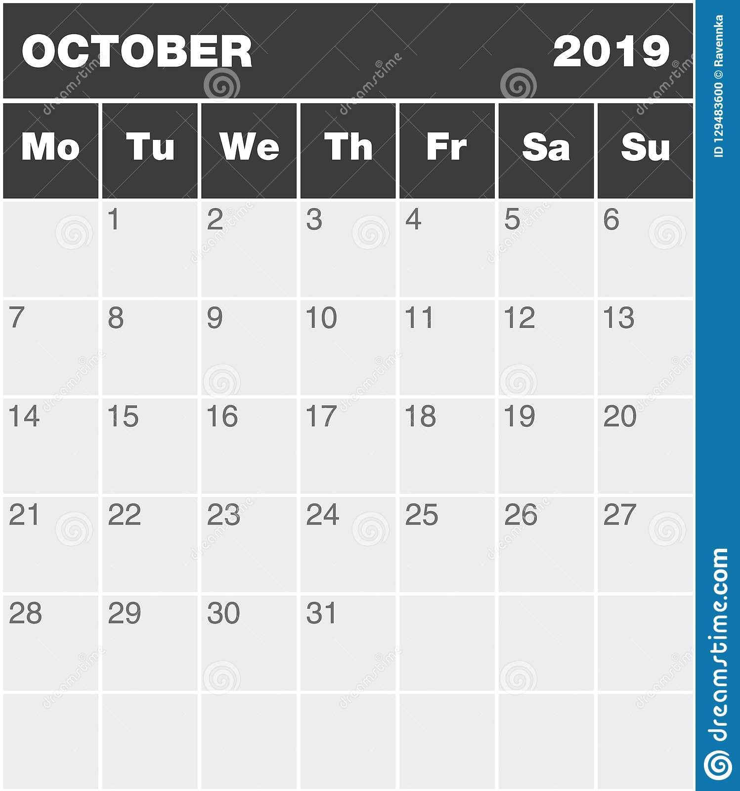 graphic relating to Monthly Planning Calendar named Clic Blank Thirty day period Greyscale Developing Calendar - Oct