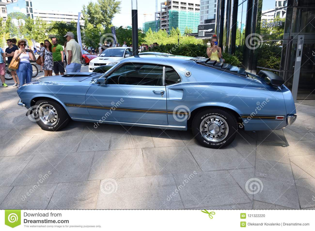 Classic blue ford mustang mach 1 1969