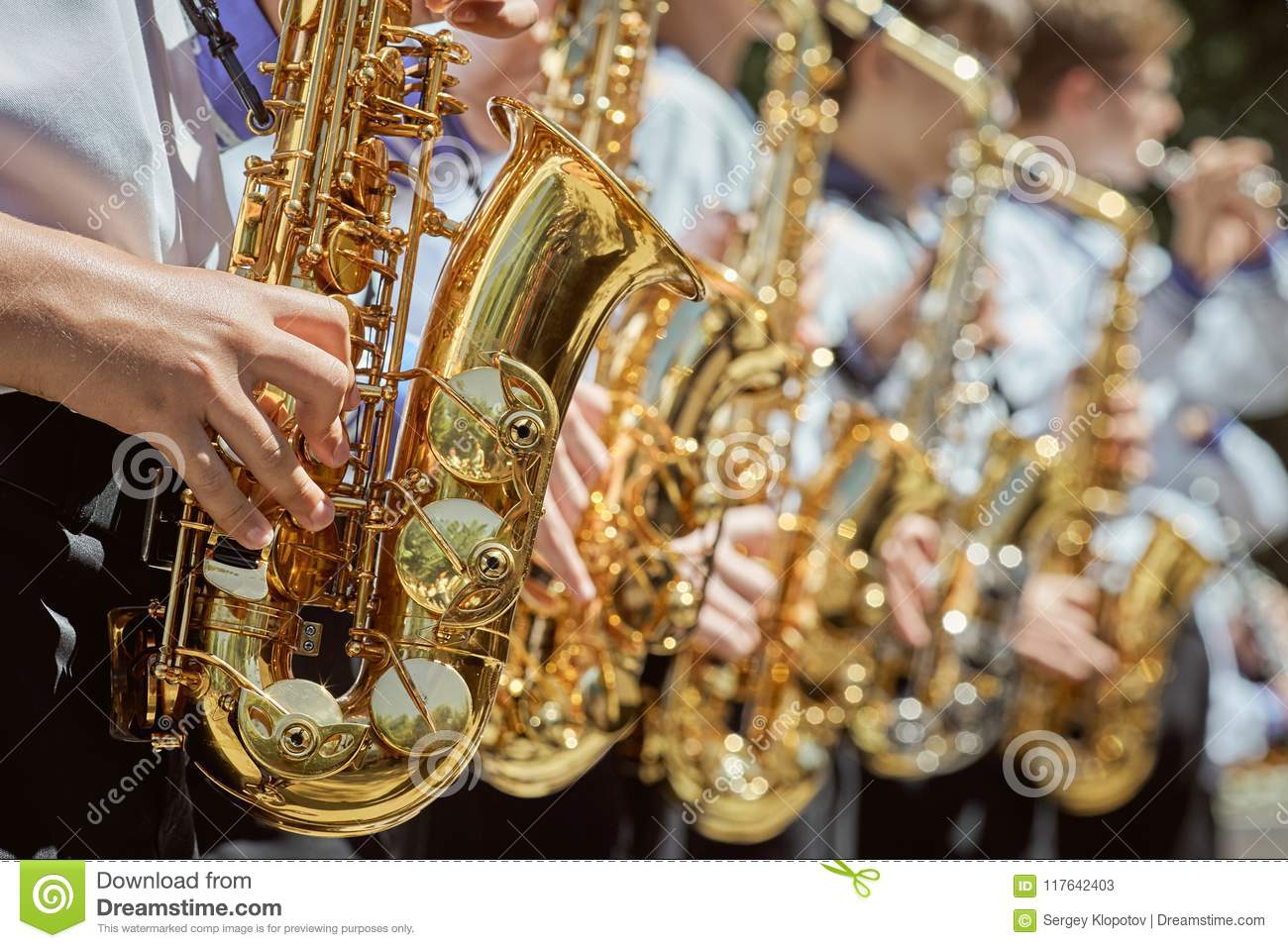 Classic Brass Band Plays The Musical In Garden. Stock Image - Image ...