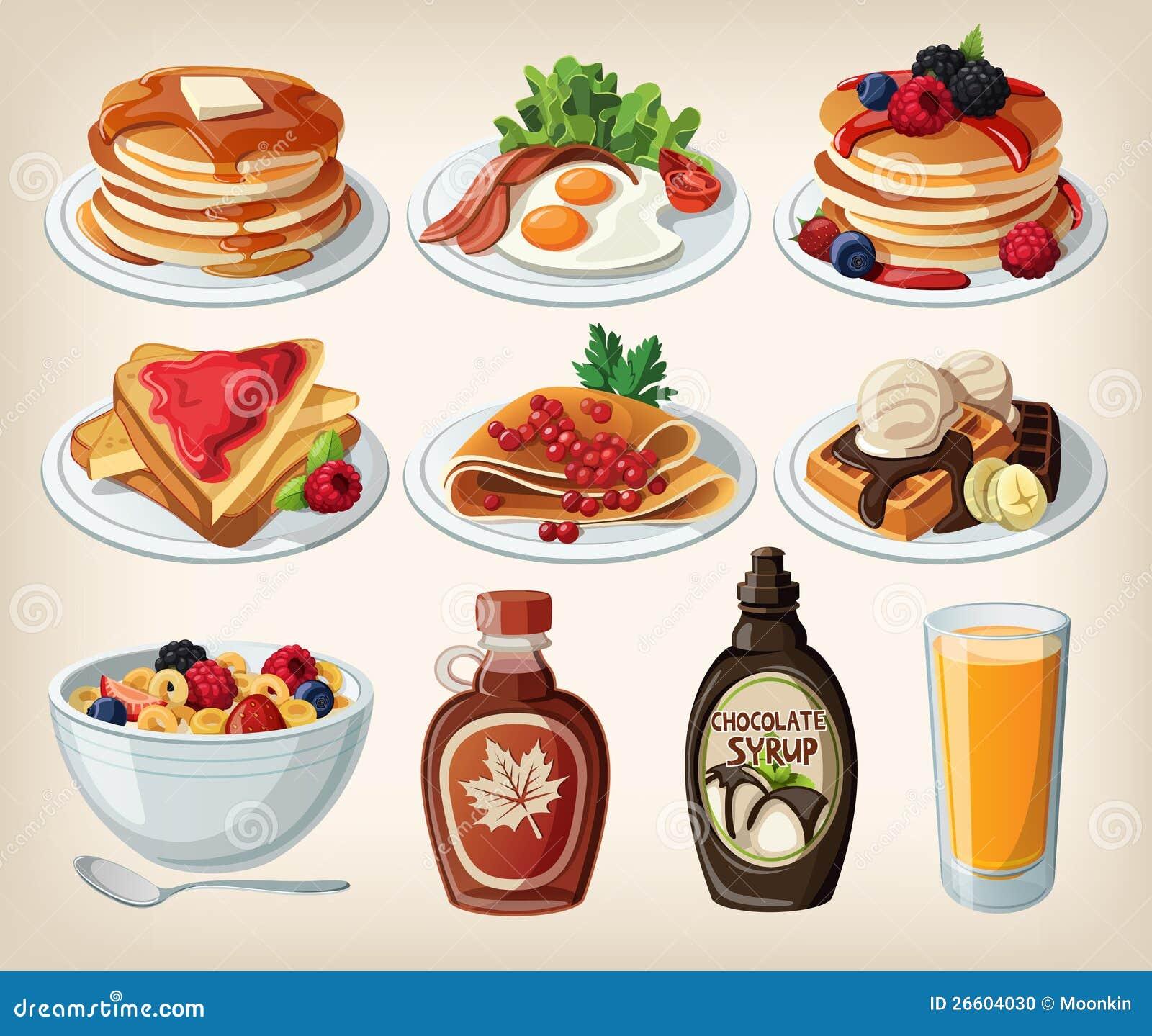 Classic breakfast cartoon set with pancakes, cerea