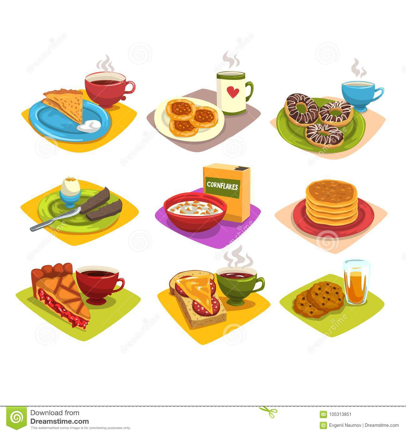 classic breakfast ideas set. cartoon illustration with pancakes and