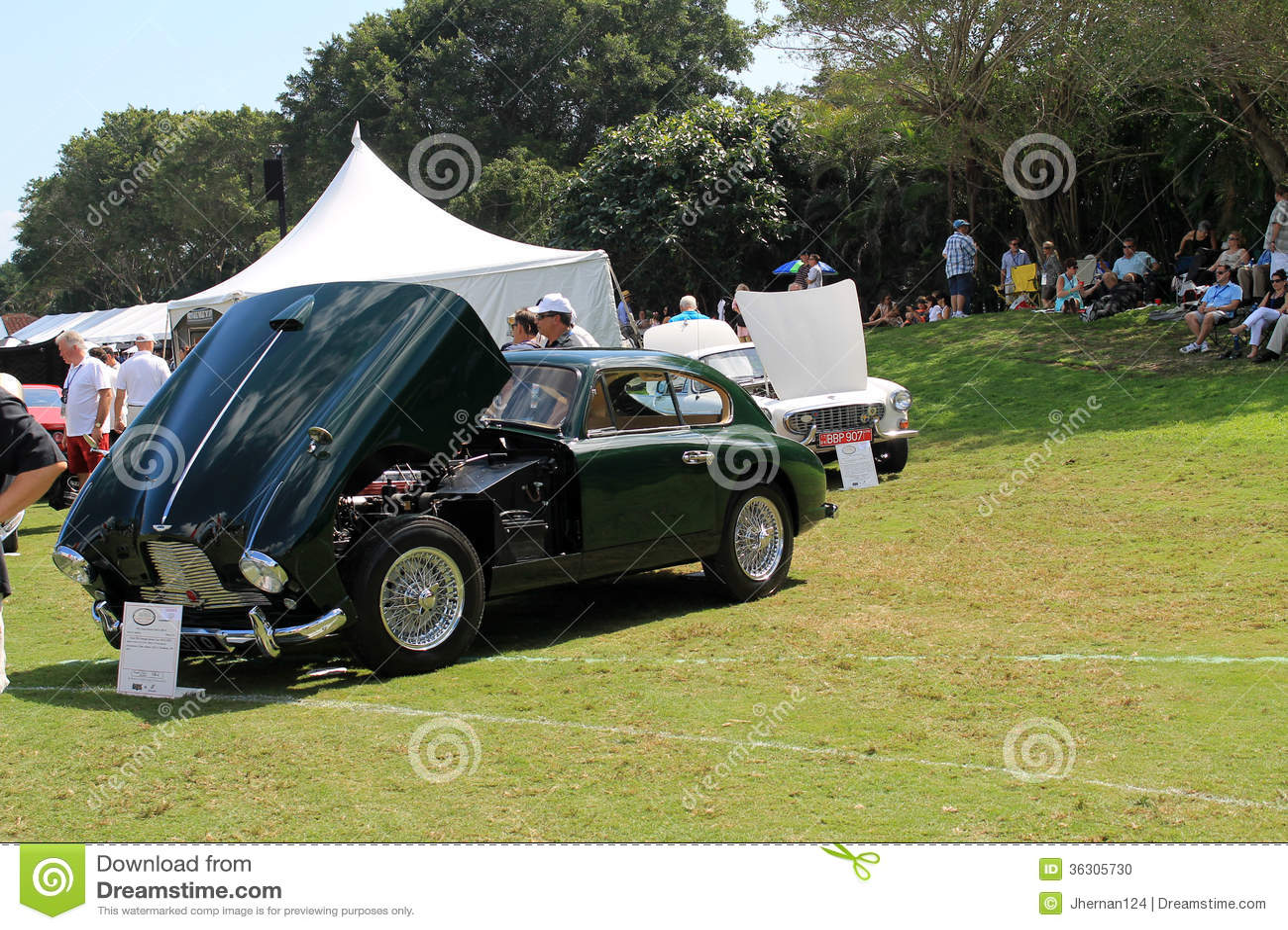 Classic British Sports Car Open Hood Its Revealing Its Engine Mechanicals Aston Martin Db Iii Public Event