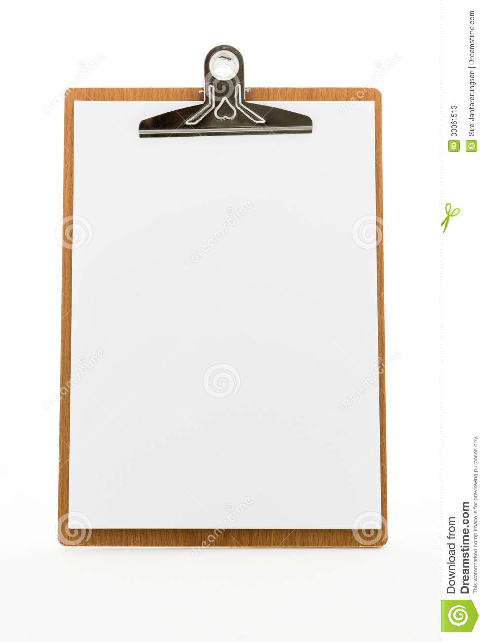 classic brown clipboard with blank white paper stock image image