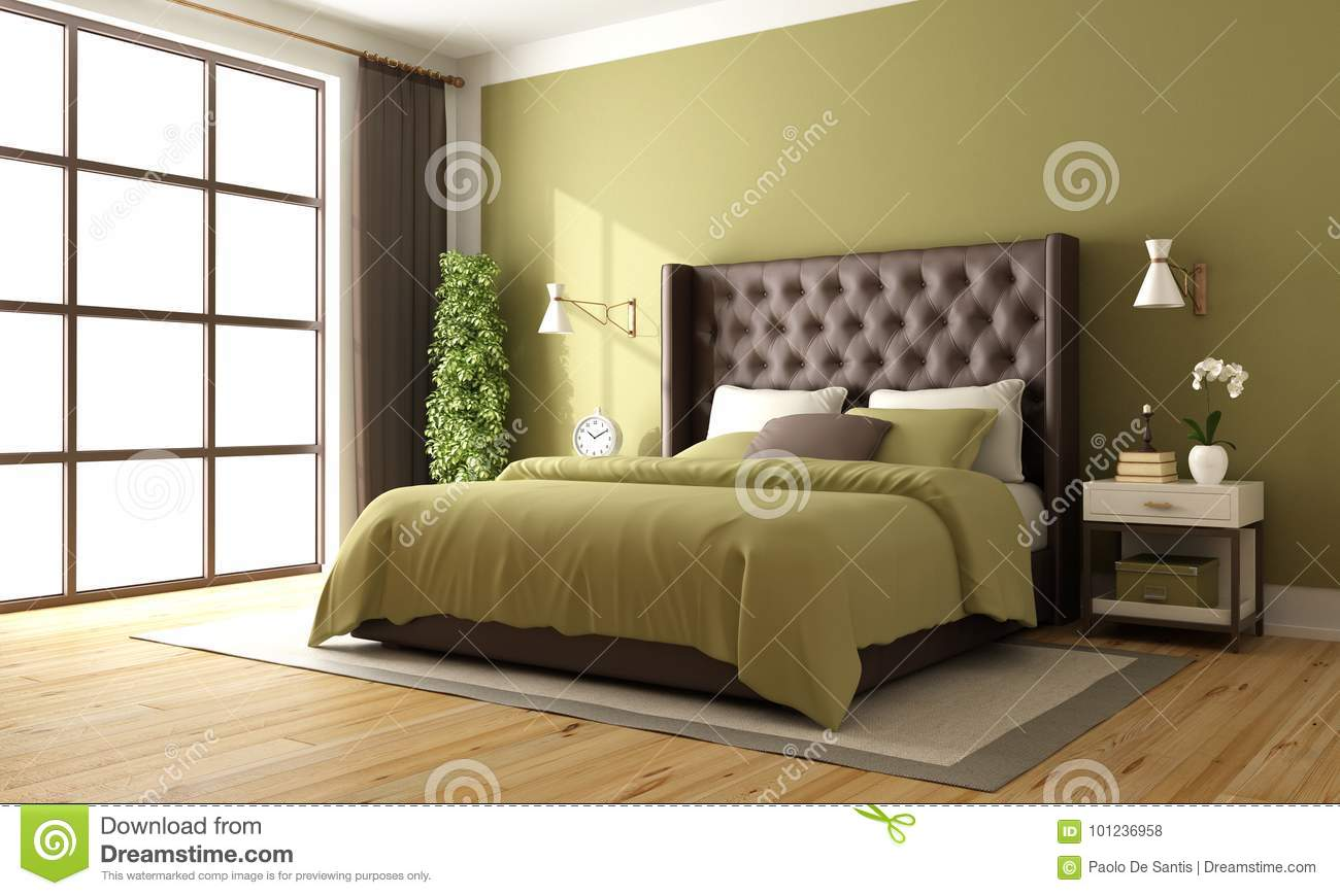 Classic Brown And Green Bedroom Stock Illustration
