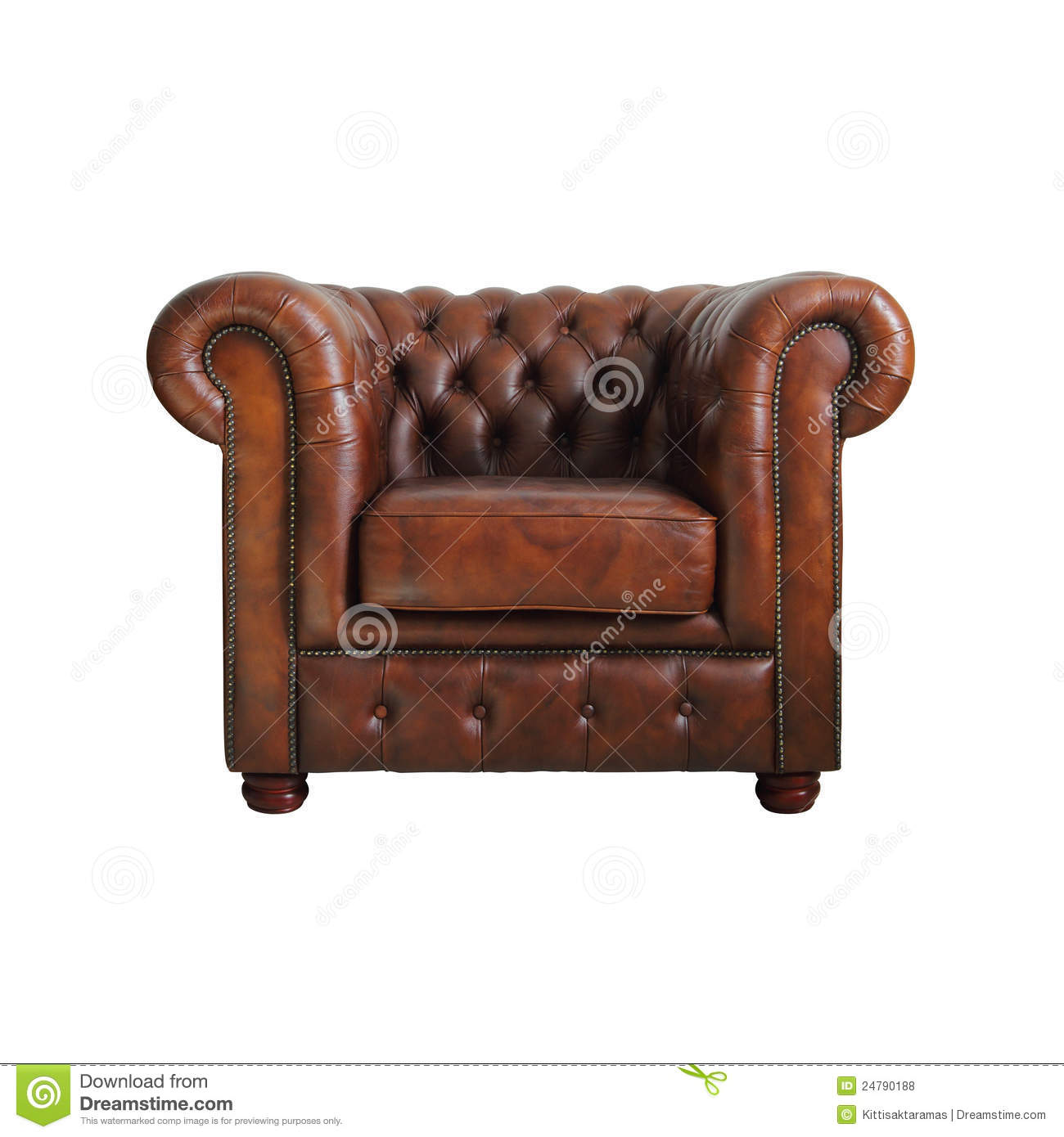 Classic Brown Leather Armchair. Stock Photo - Image of ...