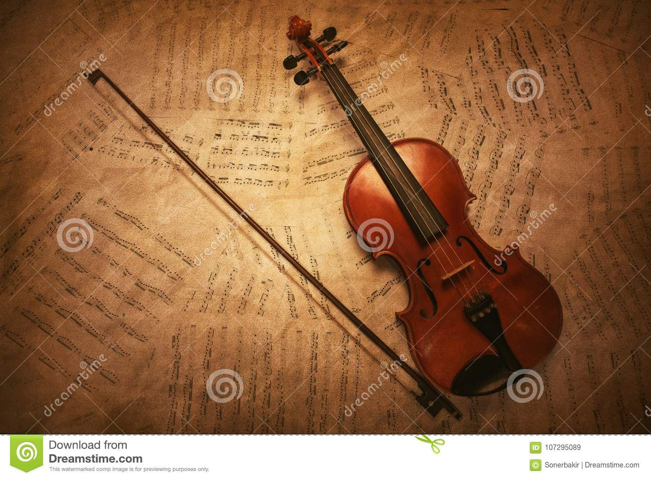 Classic Vintage Violin On The Sheet Music  Stock Image