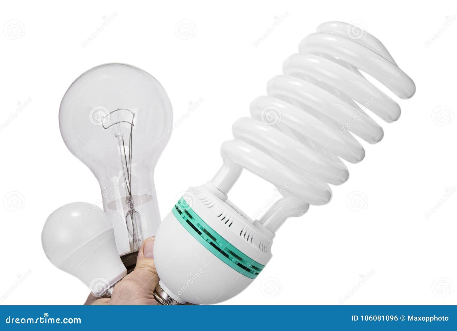 Classic bulb versus compact fluorescent versus new led bulbs.
