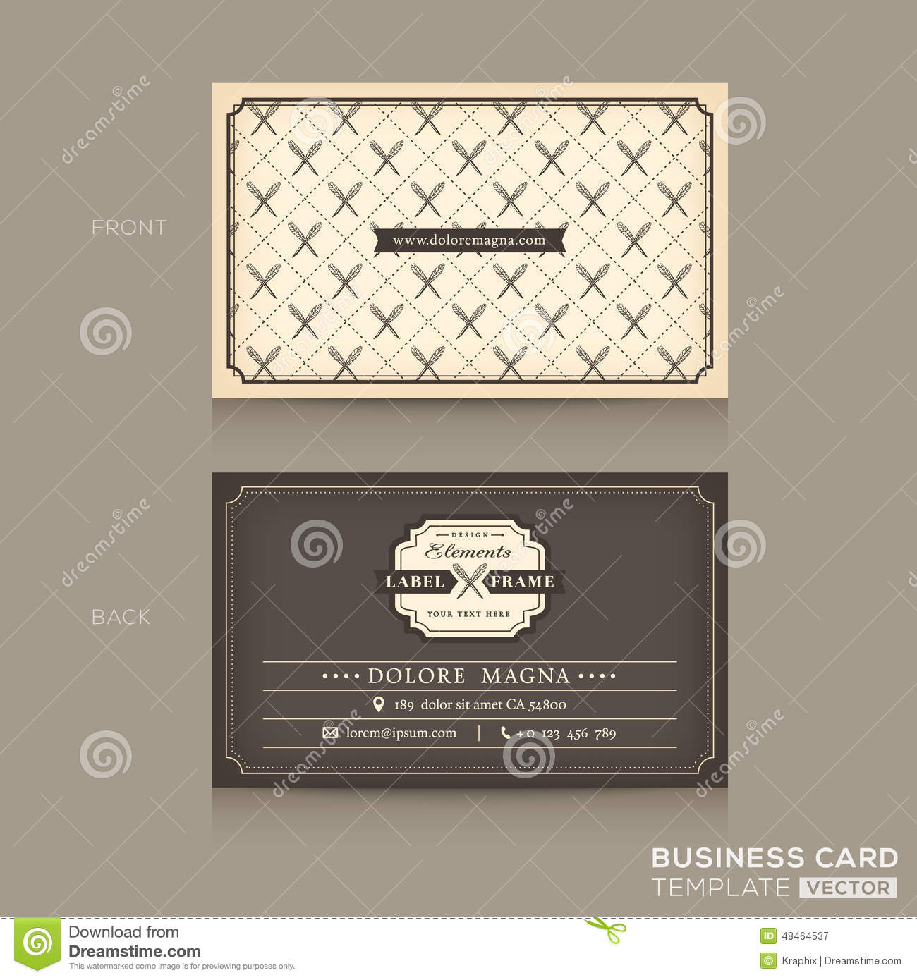 Classic Business Card Design Template Stock Vector - Illustration of ...