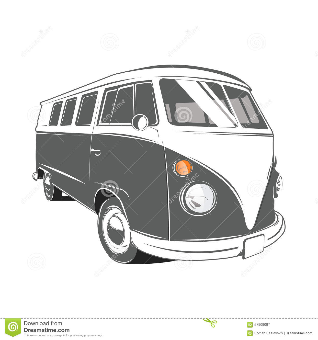 Classic Camper Van In Vintage Retro Style Vector Illustration Royalty Free Stock Photography