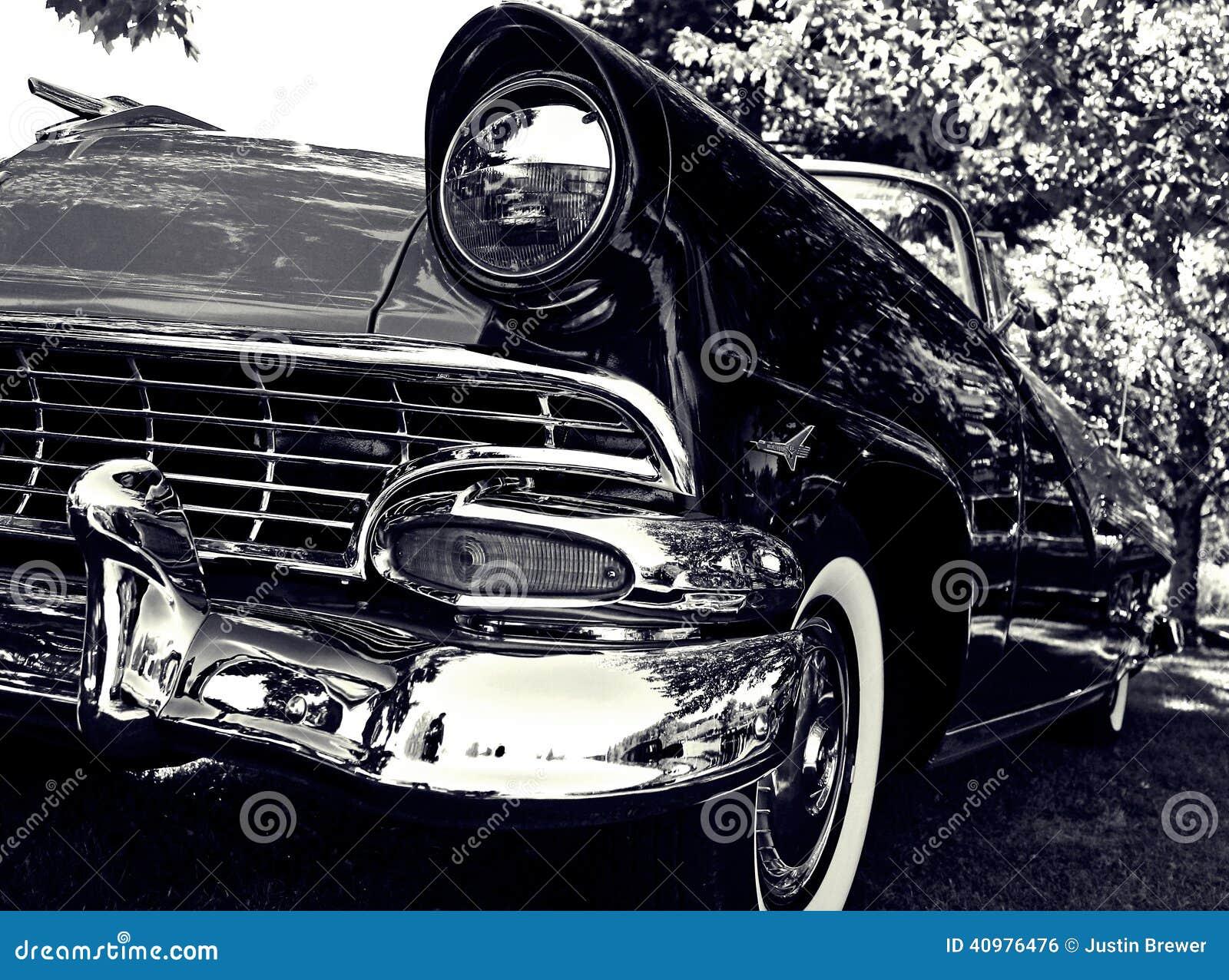 beautiful black car chrome classic