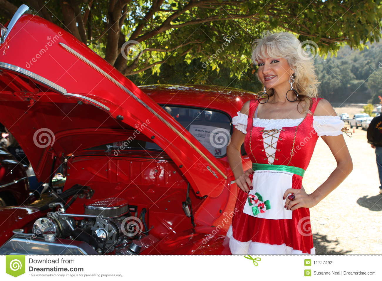 Classic Car And Christmas Dirndl Woman Stock Photography - Image ...