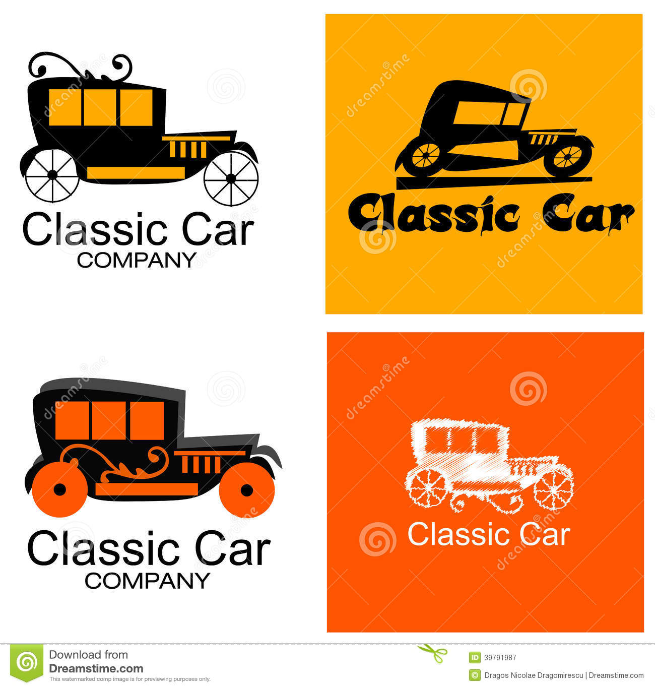 Classic Car Company Logo Set Stock Illustration Illustration Of - Classic car company