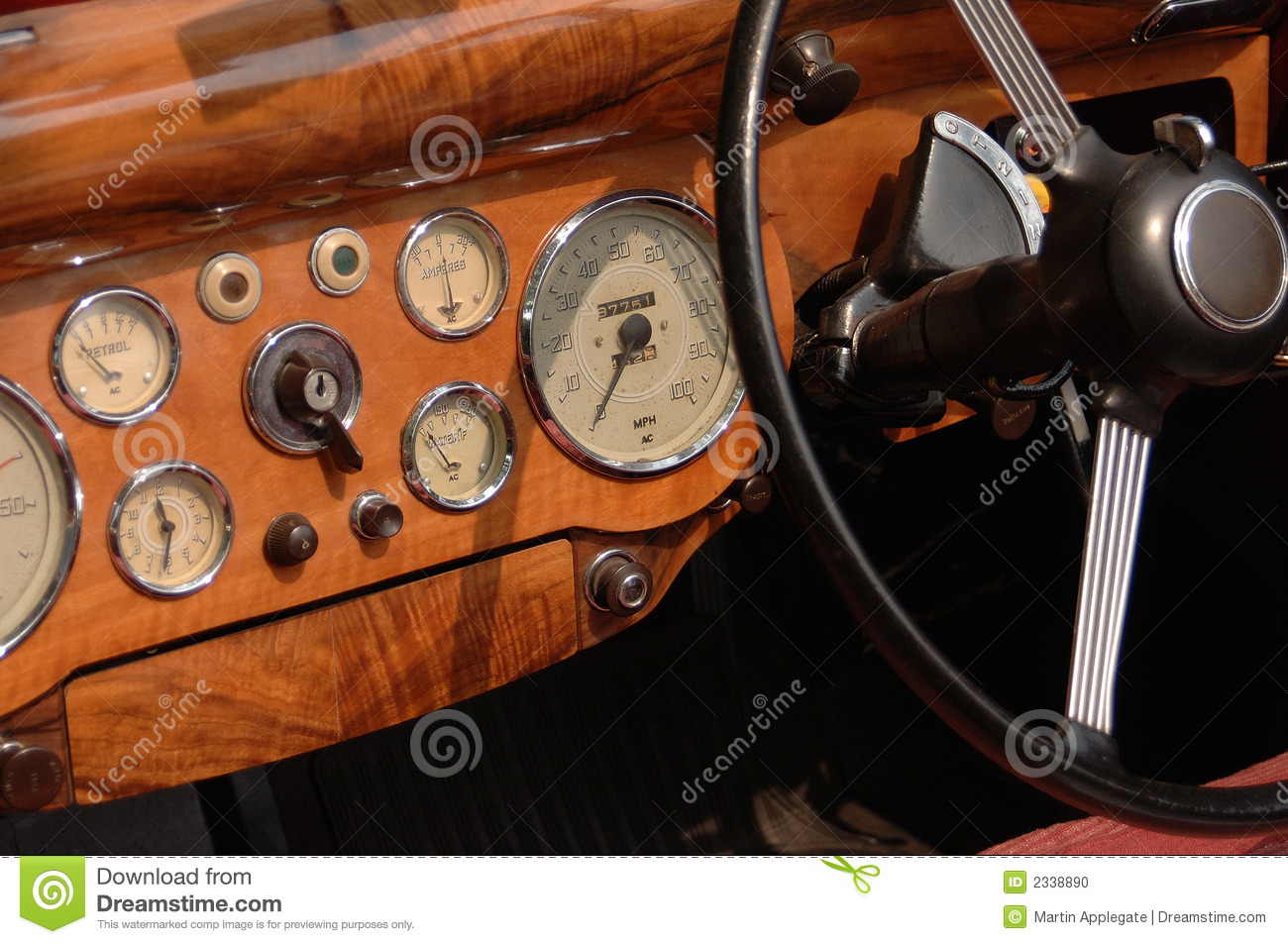 Classic Car Dashboard Stock Photo Image Of Wood Switch
