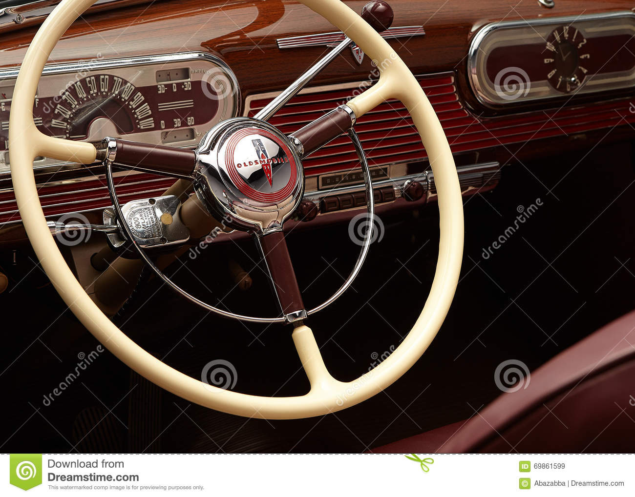 classic car dashboard and steering wheel editorial stock image image 69861599. Black Bedroom Furniture Sets. Home Design Ideas