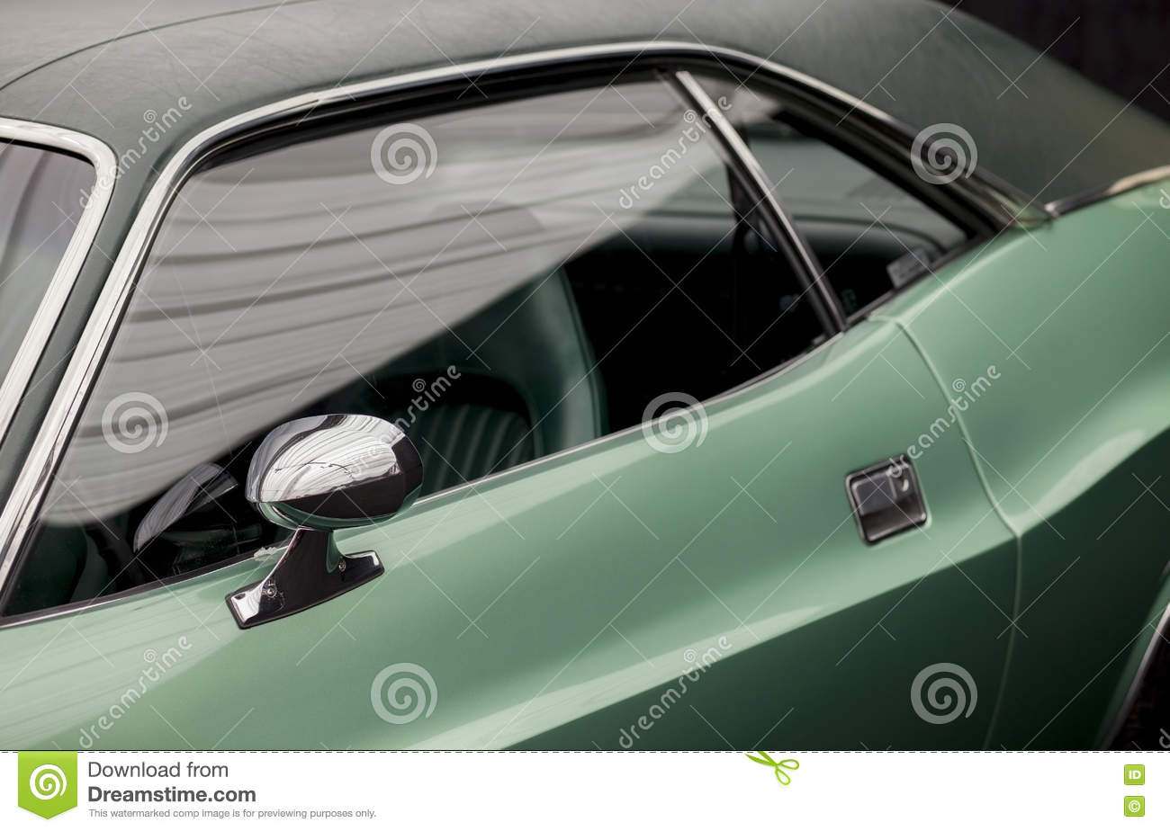 Chrome Side Rear View Mirror On A Classic Car Stock Photo
