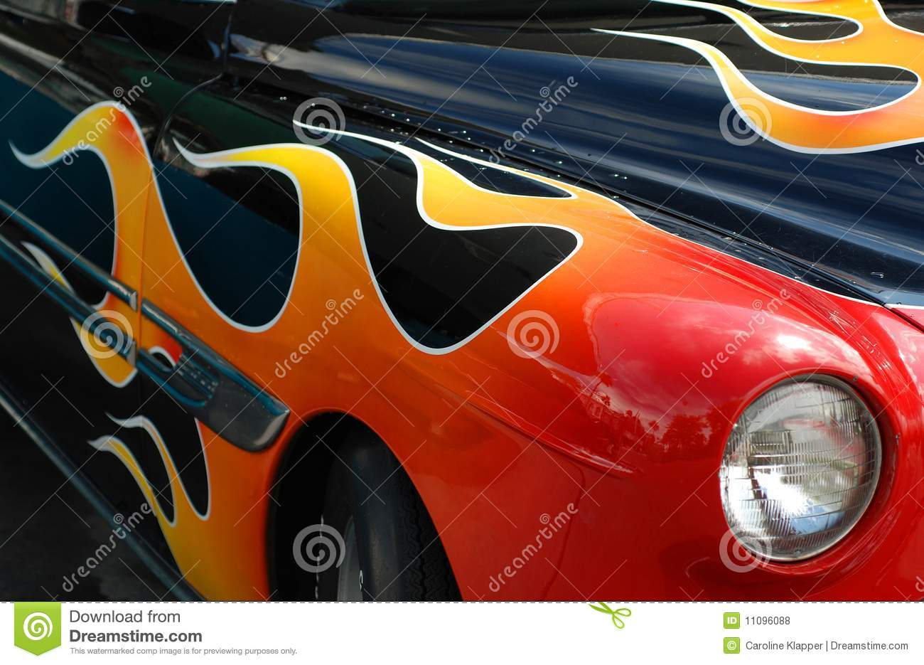 Classic Car Flames Stock Photography Image