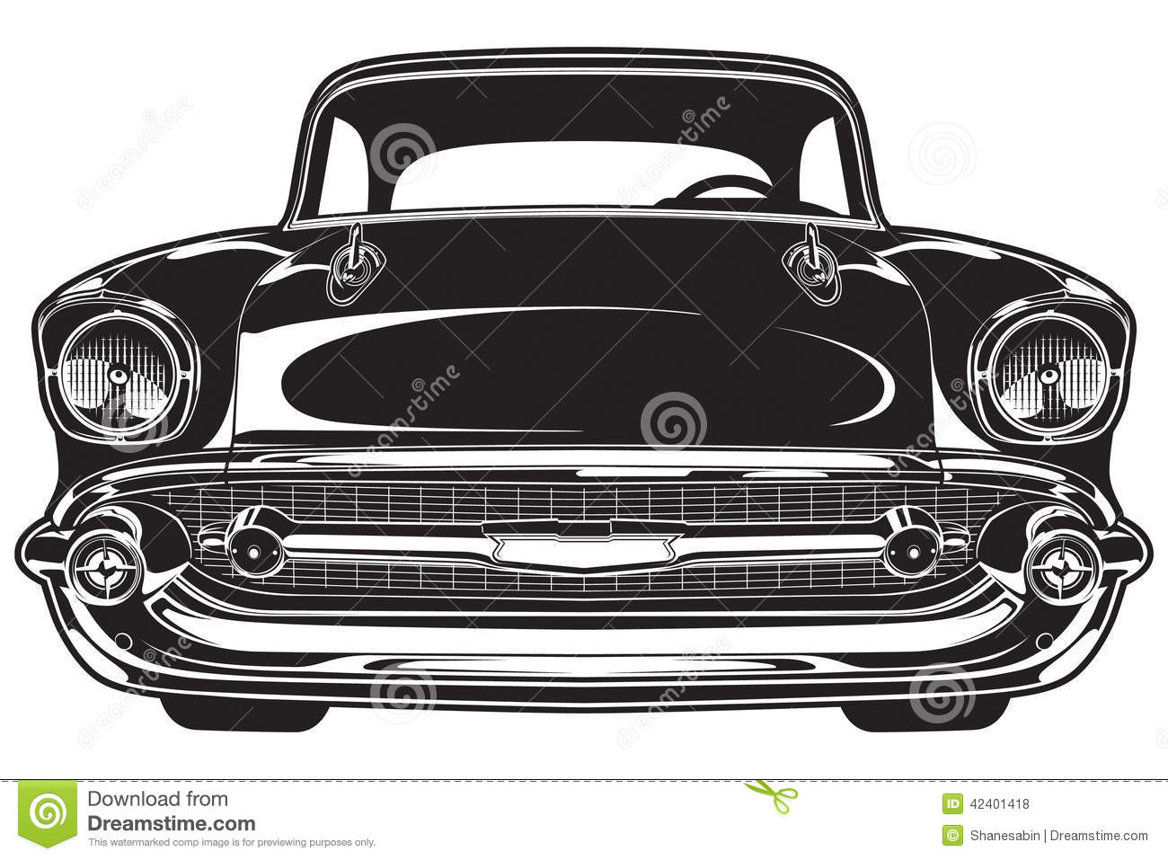 Classic Car Front Stock Vector Image