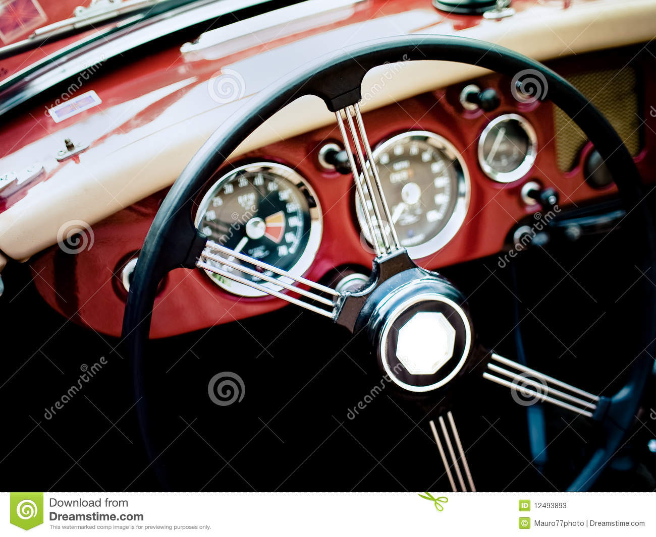 classic car interior stock image image of automobile 12493893. Black Bedroom Furniture Sets. Home Design Ideas