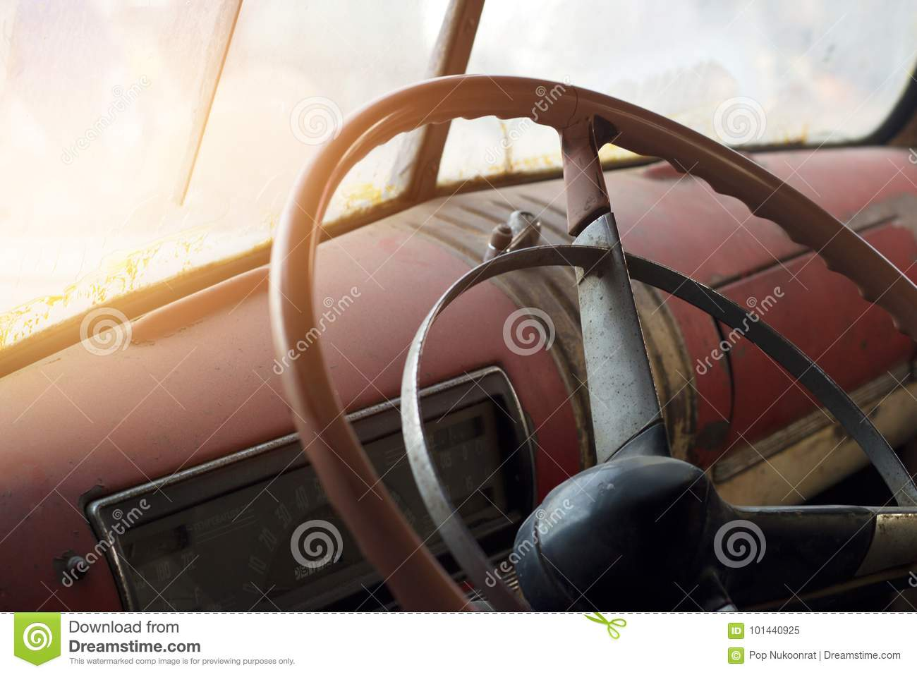 classic car interior and old steering wheel stock image image 101440925. Black Bedroom Furniture Sets. Home Design Ideas