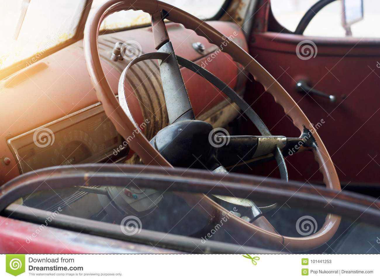 classic car interior and old steering wheel stock image image 101441253. Black Bedroom Furniture Sets. Home Design Ideas