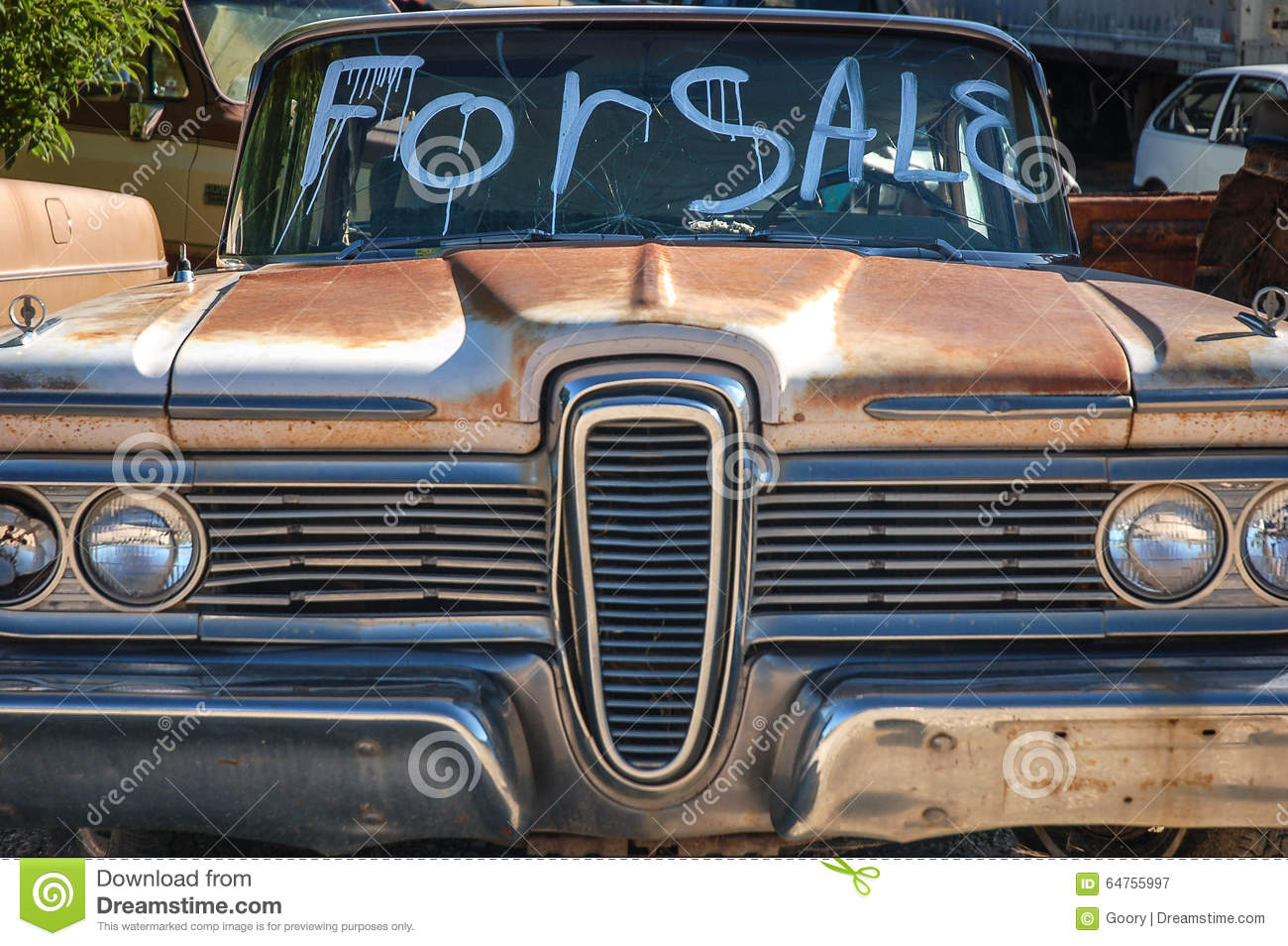 Junkyard Cars For Sale >> Classic Car For Sale Stock Image Image Of Market Traffic