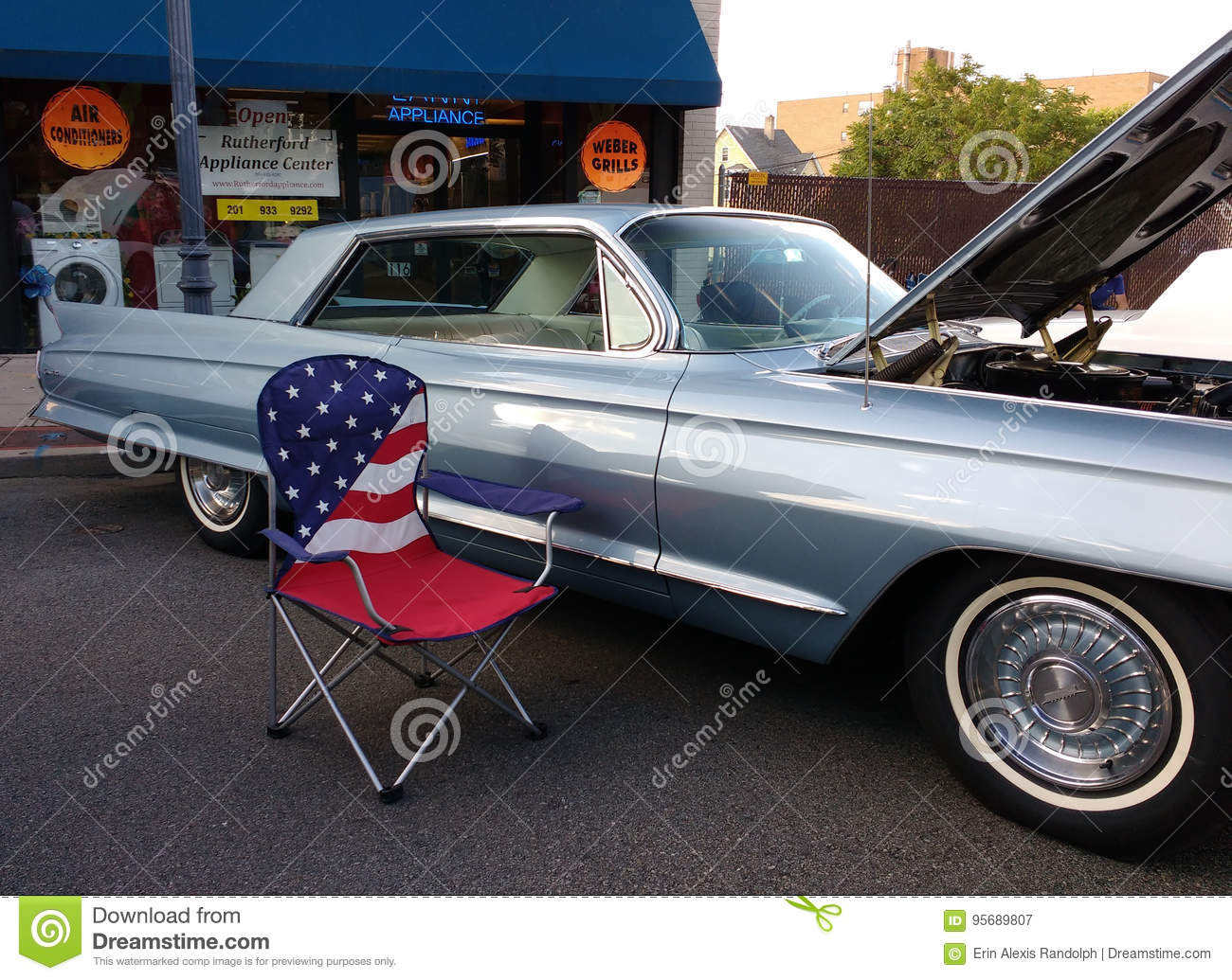 Classic Car Show With American Flag USA Editorial Photography - Car show usa