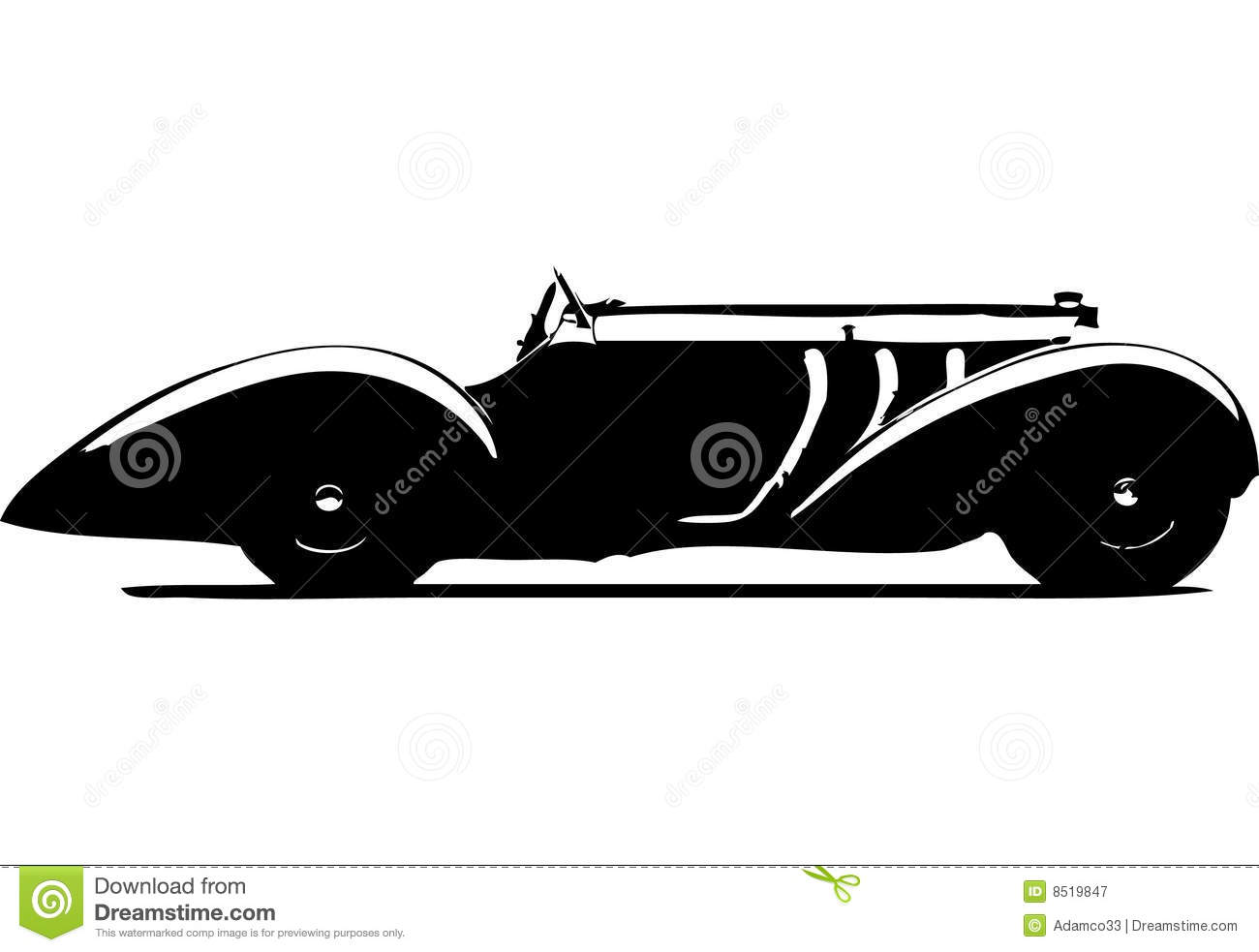 Classic Car Silhouette Stock Vector Illustration Of Timer 8519847