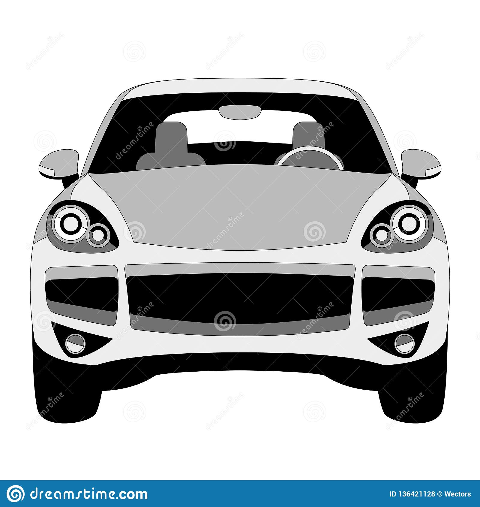 Classic Car Vector Illustration Lining Draw Front Stock Vector
