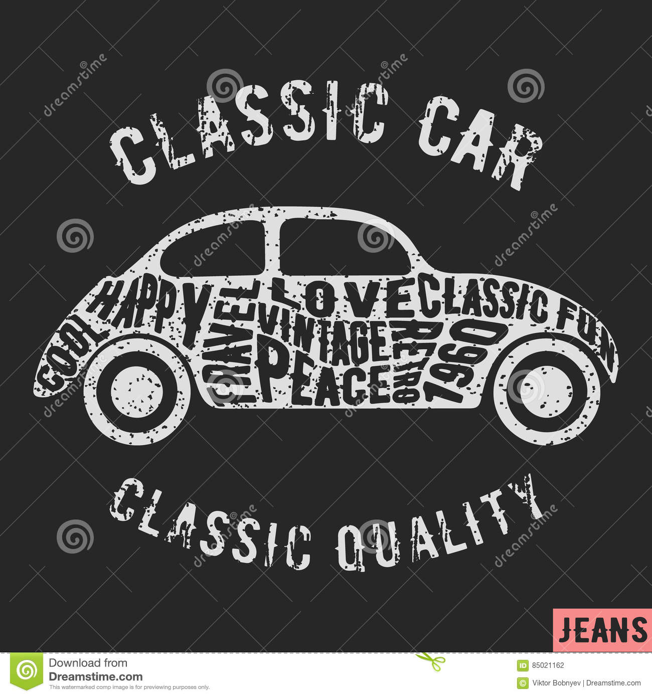 b82fe587 T-shirt print design. Classic car vintage stamp. Printing and badge  applique label t-shirts, jeans, casual wear. Vector illustration.