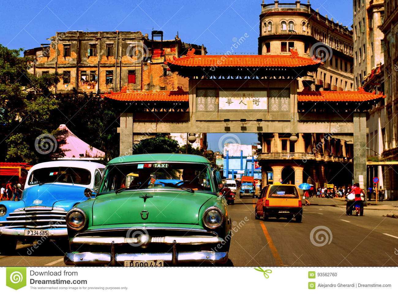 Classic Cars In La Havana`s China Town Editorial Image - Image of ...