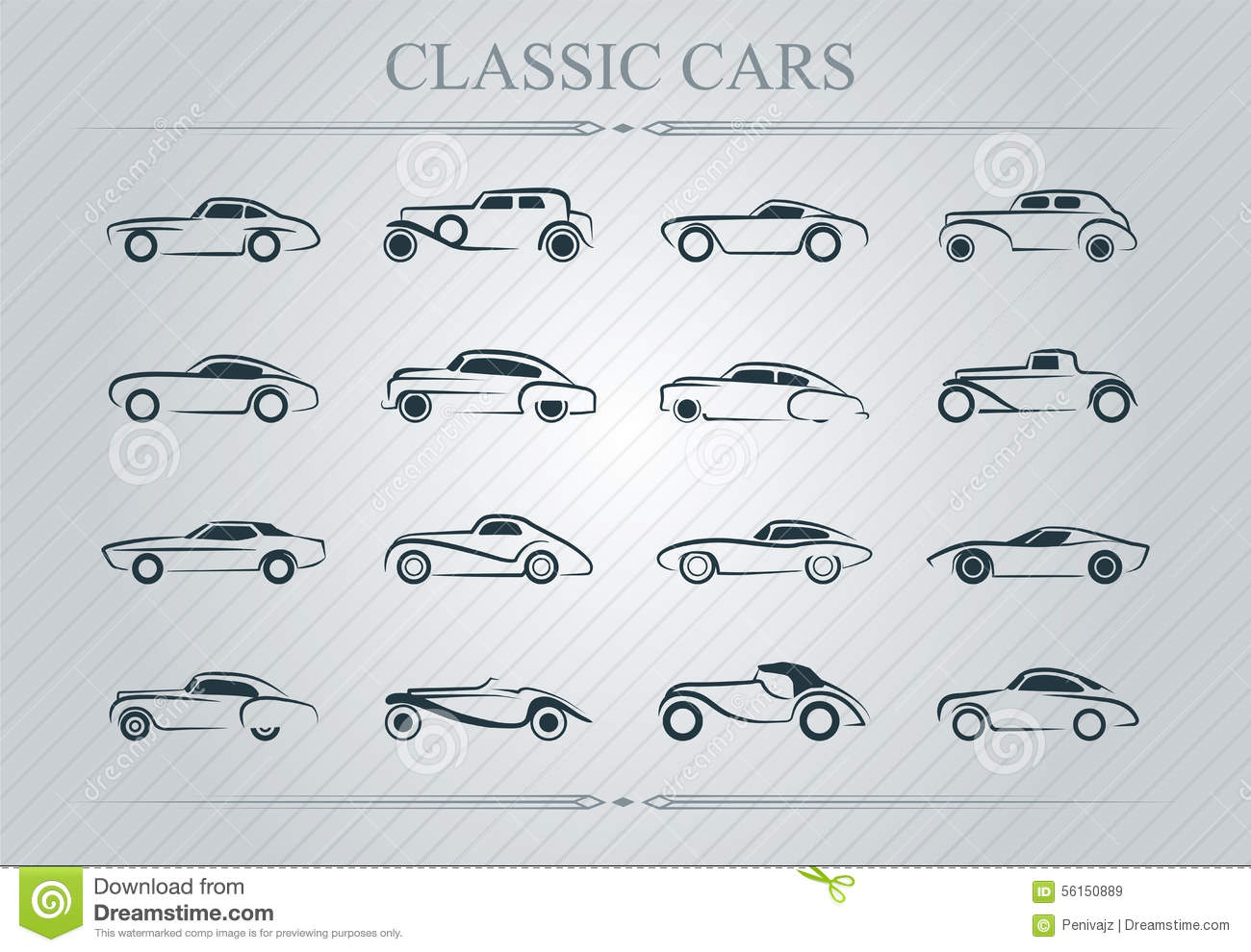 Classic Cars Logo Stock Vector Image