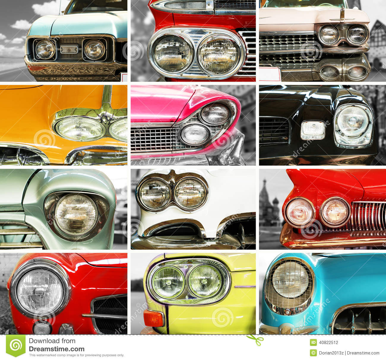 Classic cars, retro automobile collage