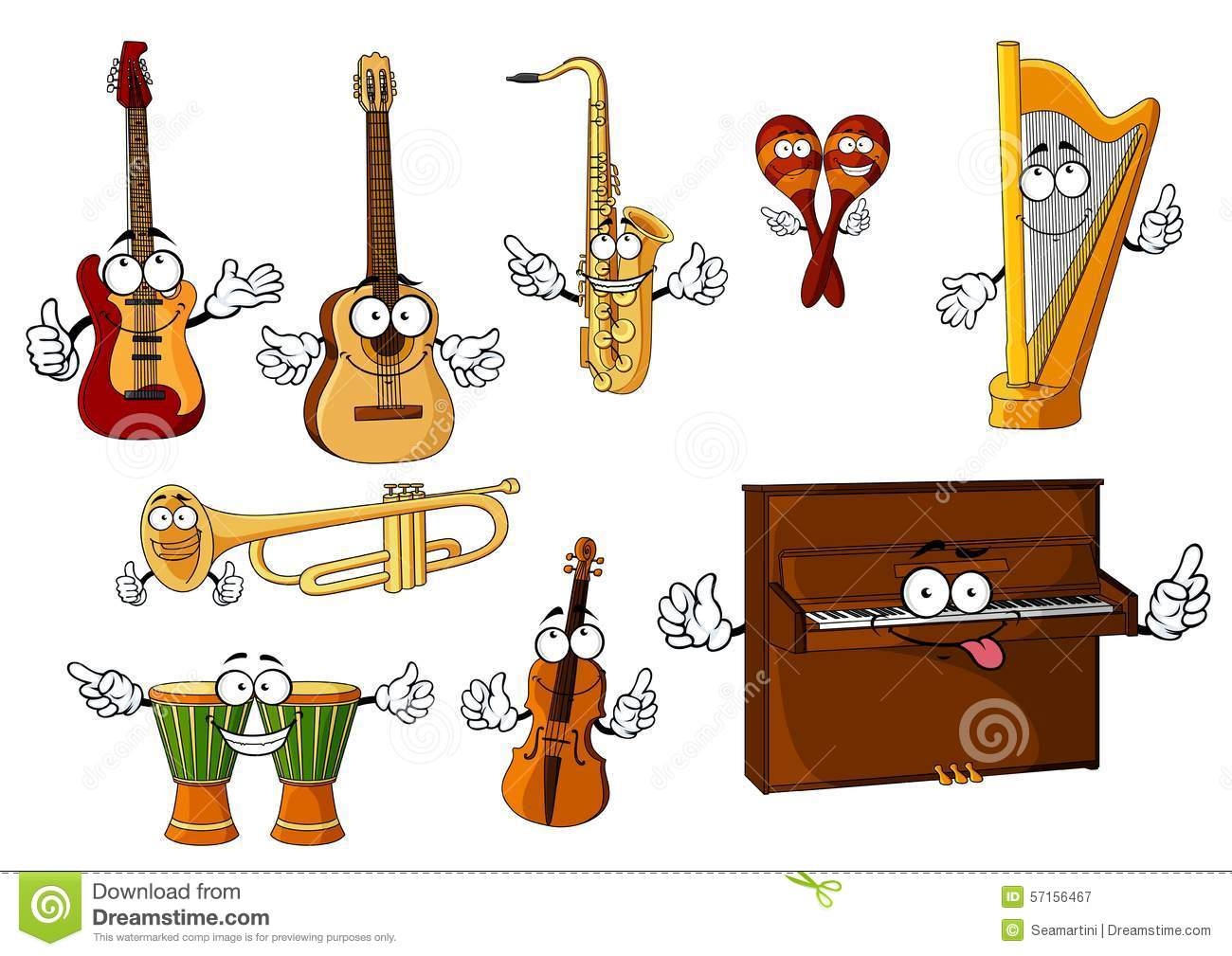 Cartoon Violin Images: Classic Cartoon Musical Instruments Characters Stock